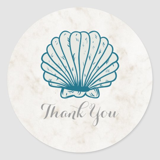 Royal Blue Rustic Seashell Wedding Thank You Classic Round Sticker