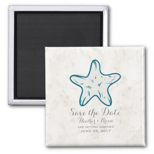 Royal Blue Rustic Starfish Save the Date Magnet