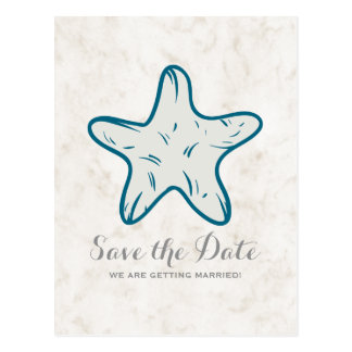 Royal Blue Rustic Starfish Save the Date Postcard