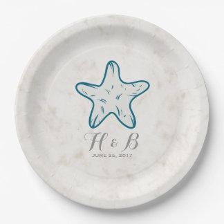 Royal Blue Rustic Starfish Wedding 9 Inch Paper Plate