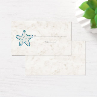 Royal Blue Rustic Starfish Wedding Place Cards
