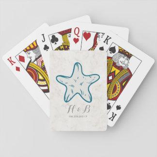 Royal Blue Rustic Starfish Wedding Playing Cards