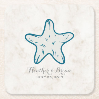 Royal Blue Rustic Starfish Wedding Square Paper Coaster