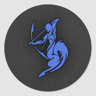 Royal Blue Sagittarius Round Sticker