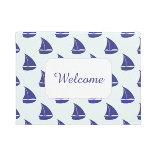 Royal Blue Sailboat Pattern | Add Your Text Doormat