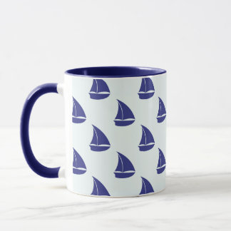 Royal Blue Sailboat Pattern Mug