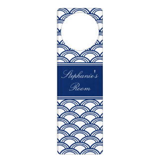 Royal Blue Seigaiha Pattern Door Knob Hanger