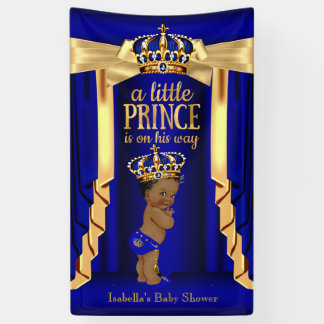 Royal Blue Silk Gold Crown Baby Shower Ethnic