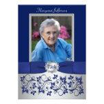 Royal Blue, Silver 75th Photo Birthday Invitation