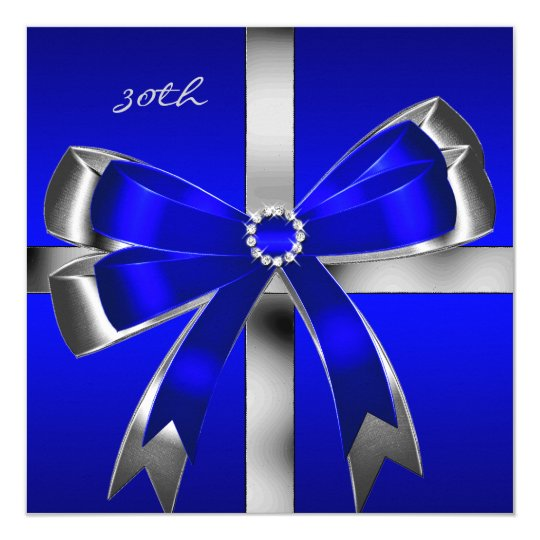 Royal Blue Silver Bow 30th Jewel Birthday Party