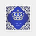 Royal Blue Silver Crown Disposable Napkin
