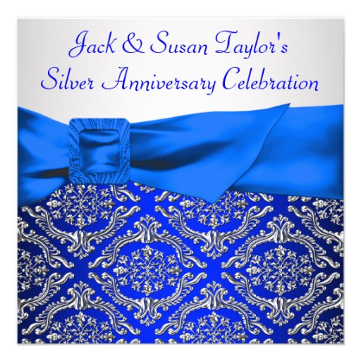 Royal Blue Silver Damask Silver 25th Anniversary Custom Invites