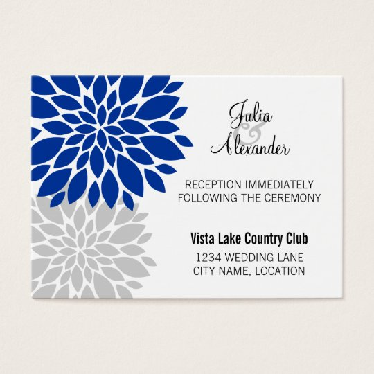 Royal Blue Silver Floral Burst Reception Cards