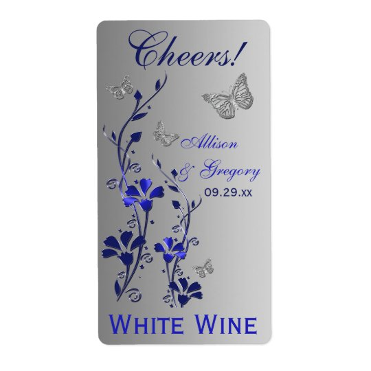 Royal Blue, Silver Floral Wedding Bottle Label 2