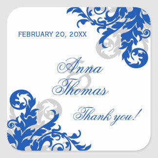 Royal Blue Silver Flourish Wedding Favor Stickers