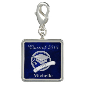 Royal Blue Silver Graduation Charm Bracelets