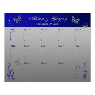 Royal Blue, Silver Gray Table Seating Poster