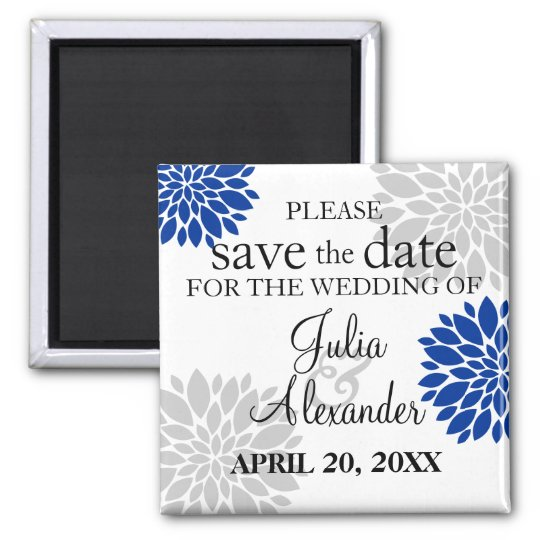 Royal Blue Silver-Grey Floral Burst Save The Date