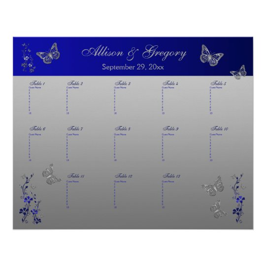 Royal Blue, Silver Grey Table Seating Poster