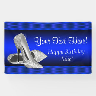 Royal Blue Silver High Heel Shoe Birthday Party