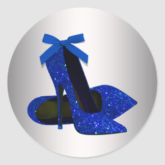 Royal Blue Silver High Heel Shoe Stickers