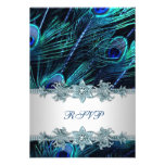 Royal Blue Silver Indian Peacock Wedding RSVP
