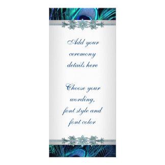 Royal Blue Silver Peacock Wedding Programs Rack Card
