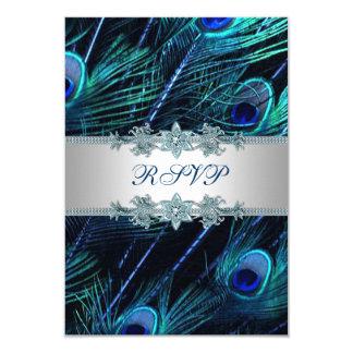 Royal Blue Silver Peacock Wedding RSVP Card