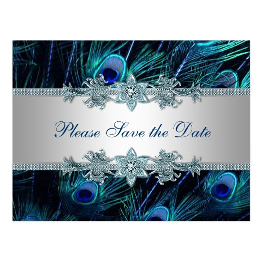 Royal Blue Silver Peacock Wedding Save the Date