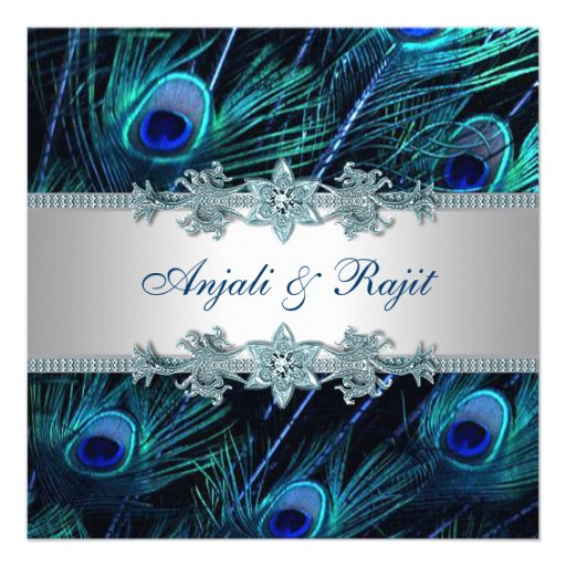 Royal Blue Silver Royal Indian Peacock Wedding Custom Invites