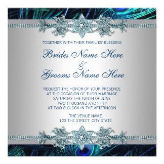 Royal Blue Silver Royal Indian Peacock Wedding Announcements