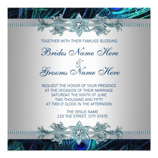 Royal Blue Silver Royal Indian Peacock Wedding Announcements