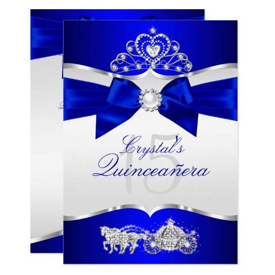 Royal Blue Silver Tiara Pearl Bow Quinceanera Invitation Zazzle Co Uk