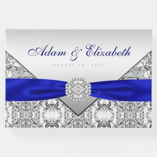 Royal Blue Silver Wedding Guest Book Zazzlecouk