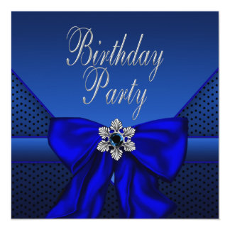 Royal Blue Silver Womans Birthday Party 13 Cm X 13 Cm Square Invitation Card