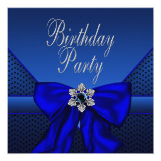 Royal Blue Silver Womans Birthday Party Invitation