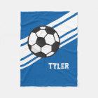 Royal Blue Soccer Ball Sports Personalised Name Fleece Blanket