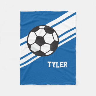 Royal Blue Soccer Ball Sports Personalized Name Fleece Blanket