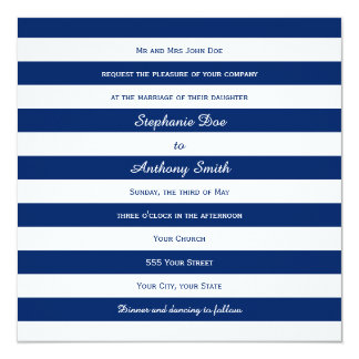 Royal Blue Striped Wedding 13 Cm X 13 Cm Square Invitation Card
