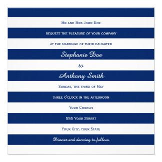 Royal Blue Striped Wedding Custom Invite