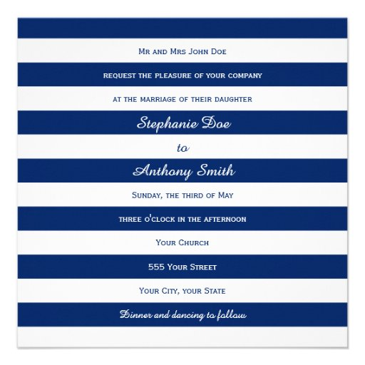 Royal Blue Striped Wedding Custom Invite