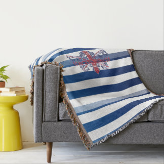 Royal Blue Stripes & Union J British Coat of Arms Throw Blanket