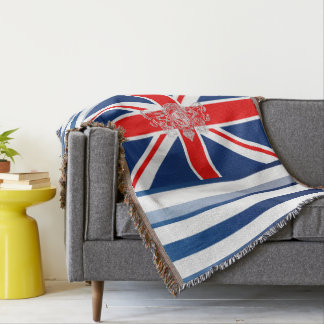 Royal Blue Stripes & Union Jack UK Coat of Arms Throw Blanket