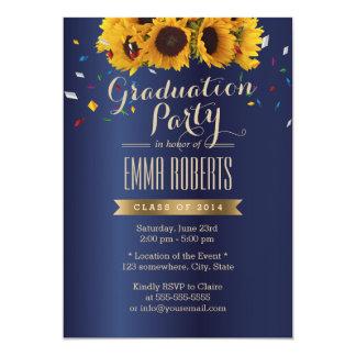 Royal Blue Sunflowers Gold Label Graduation Party Invite