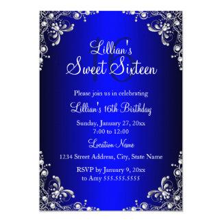 Royal Blue Sweet 16 Silver Pearl Damask 13 Cm X 18 Cm Invitation Card