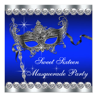 Royal Blue Sweet Sixteen Masquerade Party Announcement