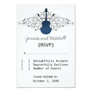 Royal Blue Swirls Guitar Response Card 9 Cm X 13 Cm Invitation Card