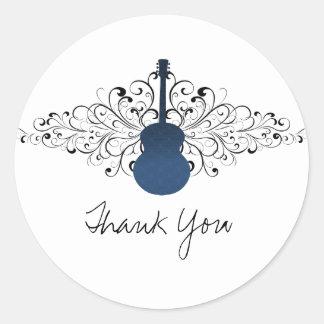 Royal Blue Swirls Guitar Thank You Stickers