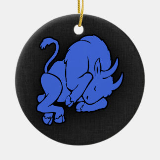 Royal Blue Taurus Christmas Ornament