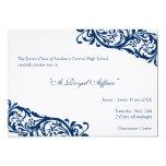 "Royal blue traditional  junior formals senior prom 5"" x 7"" invitation card"